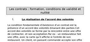 Les contrats : formation, conditions de validité et nullité