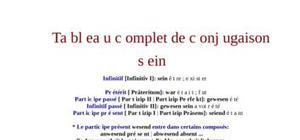 Tableau de conjugaison du verbe sein