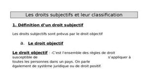 Les droits subjectifs et leur classification