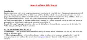 Explication texte : America (West side story)