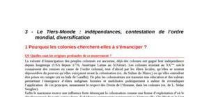 Le Tiers-Monde : indépendances, contestation de l'ordre mondial, diversification
