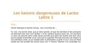 Lecture analytiques sur la Lettre 1 des Liaisons Dangereuses