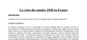 La crise des années 30 en France