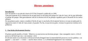 Explication texte : Heroes Anonimos