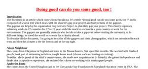 Explication texte : Doing good can make you doing some good too