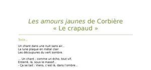 """Lecture analytique sur """"Le crapaud"""" de Corbière"""