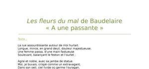 """Lecture analytique sur """"A une passante"""" de Baudelaire"""