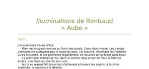 """Lecture analytique sur """"Aube"""" de Rimbaud"""