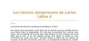 Lecture analytique sur la Lettre 4 des Liaisons Dangereuses