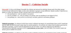Fiche SES : La cohésion sociale