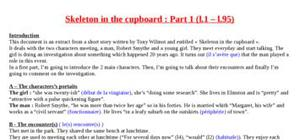 Explication texte : Skeleton in the cupboard (part 1)
