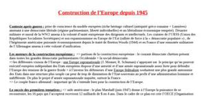 Fiche : La construction eurpéenne jusqu'à la fin des années 1980