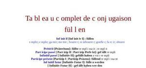 Tableau de conjugaison du verbe füllen