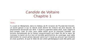 Lecture analytique sur le chapitre 1 de Candide