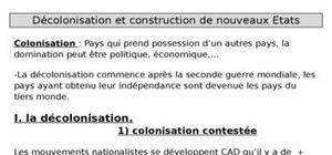 Décolonisation et construction de nouveaux Etats