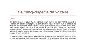 Lecture analytique sur De l'Encyclopédie de Voltaire