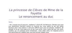 Lecture analytique sur La princesse de Clèves de la Fayette