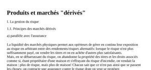 """Produits et marchés """"dérivés"""""""