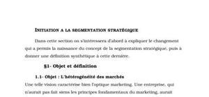 Initiation à la segmentation stratégique