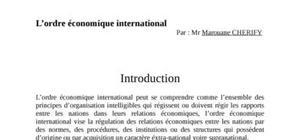 L'ordre économique international