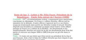Lettre à Mr. Félix Faure, Président de la République,   Emile Zola extrait de l'Aurore (1898)