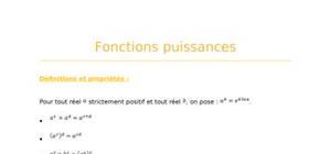 Fonctions puissances  - fiche révision bac