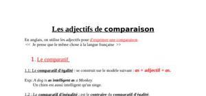 Les adjectifs de comparaison