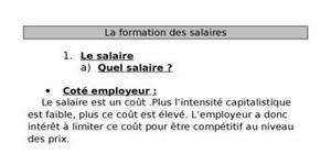 La formation des salaires