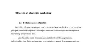 Objectifs et stratégie marketing