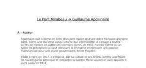 Lecture Analytique : Le Pont Mirabeau --> Guillaume Apollinaire