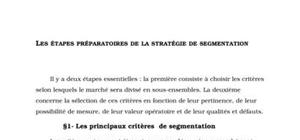 Les étapes préparatoires à la stratégie de segmentation