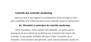 Contrôle des activités marketing