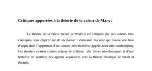 Critiques apportées à la théorie de la valeur de Marx