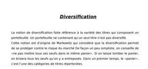 Diversification du portefeuille