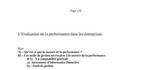 L'Evaluation de la performance dans les entreprises