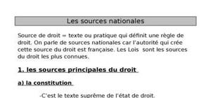 Les sources nationales du Droit