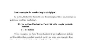 Les concepts du marketing stratégique