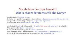 Vocabulaire du corps humain 1