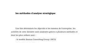 Les méthodes d'analyse stratégique