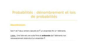 Probabilités : dénombrement et lois de probabilités