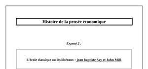 Les libéraux Jean Baptiste Say et John Mill