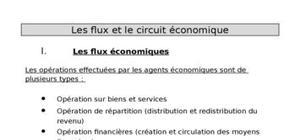 Les flux et le circuit économique