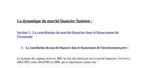 La dynamique du marché financier Tunisien