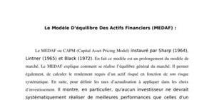 Le Modèle D'équilibre Des Actifs Financiers (MEDAF)