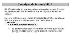 L'analyse de la rentabilité
