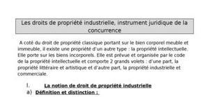 Les droits de propriété industrielle, instrument juridique de la concurrence