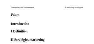 Marketing stratégique : l'entreprise et son environnement