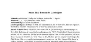 Les reines carolingiennes