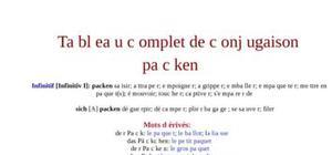 Tableau de conjugaison du verbe packen