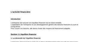 L'activité financière